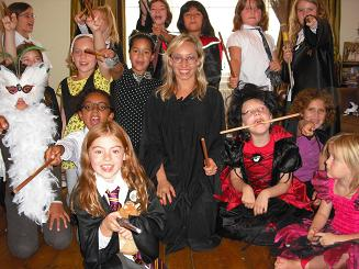 Children dressed in Harry Potter costumes