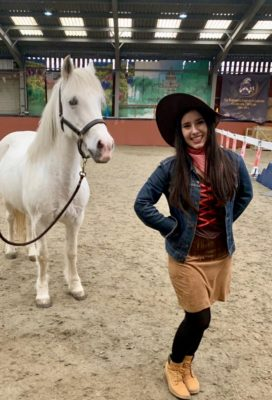 Line dance teacher with a pony