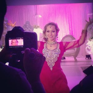 A Bollywood dancer being filmed for a movie
